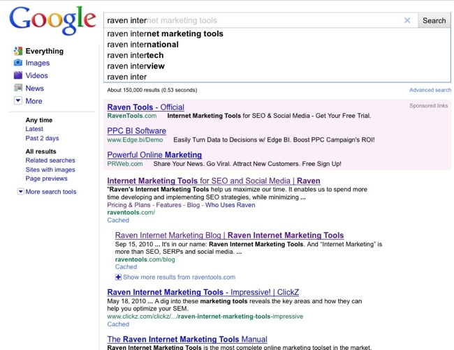 Google Instant Raven Inter Search