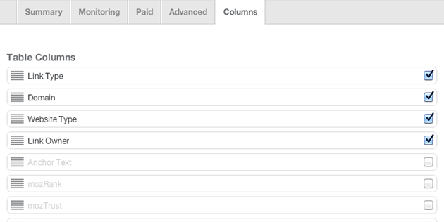 Column Options in Link Report Module