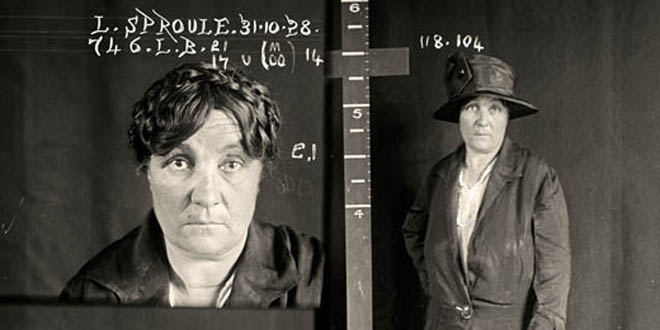 Lillian Sproule, criminal record number 746LB, 31 October 1928.