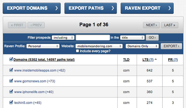Raven Export Options in Link Prospector