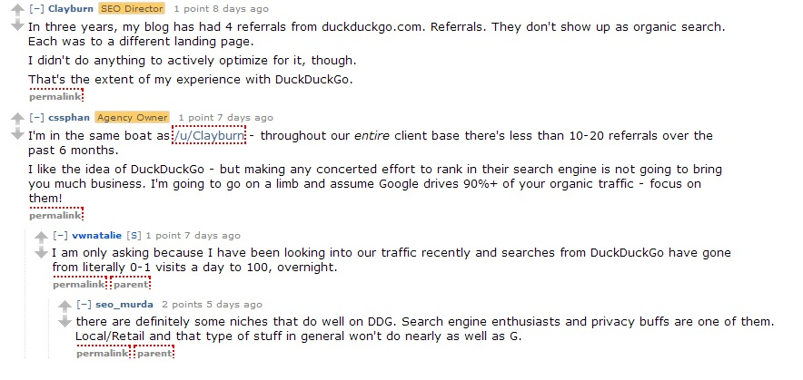 DuckDuckGo on Reddit