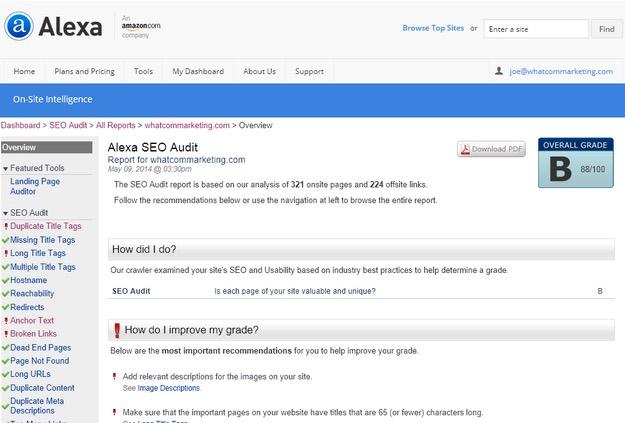 Alexa Site Auditor